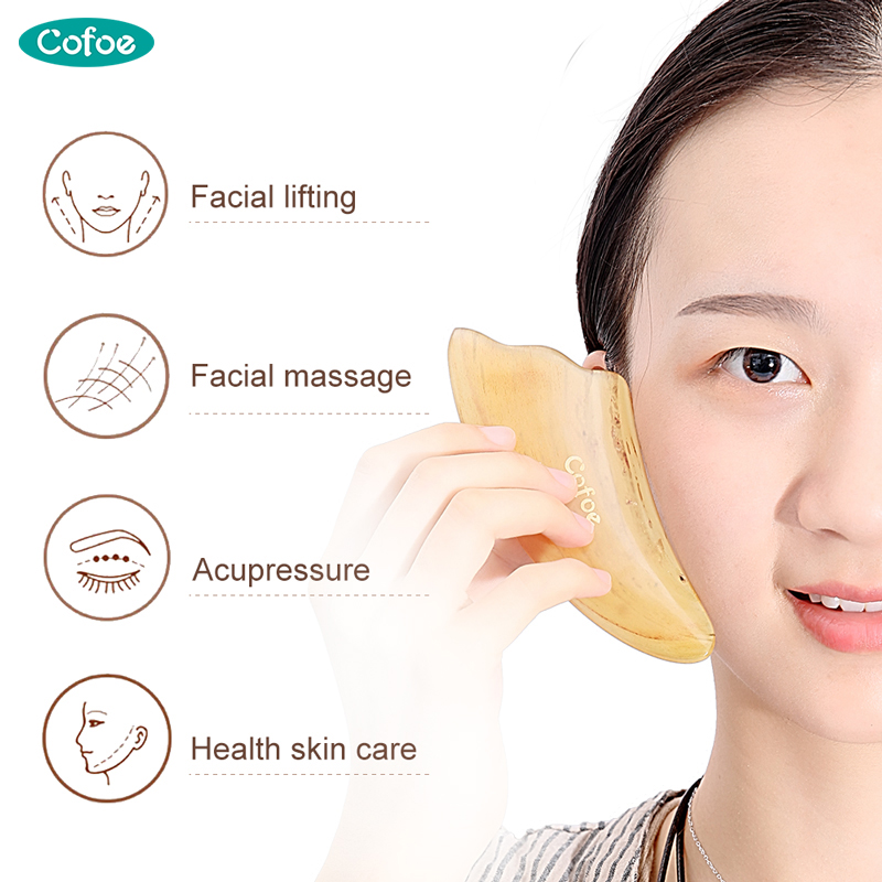 Cofoe Gua Sha Facial Massage Scraping Tool OX Horn Gusha Therapy Guasha Plate Board Scraper For Chinese Medical Skincare