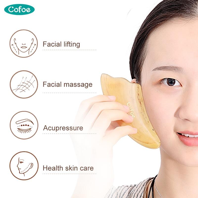 2 Stück Horn Gua Sha Schaben Massage-Tool Für SPA Akupunktur