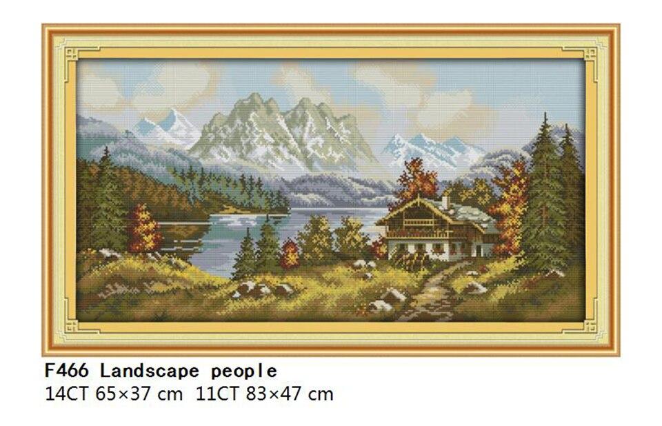 Landscape Patterns Joy Sunday Cross Stitch Printed Cross Stitch Kits DMC 11CT 14CT Cross Stitch Kits Embroidery Needlework Sets  (2)