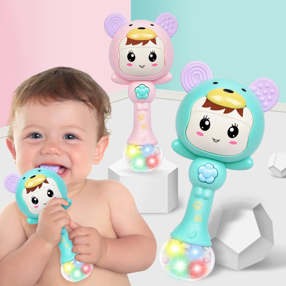 LED Glowing Hand Rattle Music Sand Hammer Soft Teether Development Baby Toy Light Will Change With The Rhythm