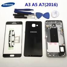 Полный корпус средняя рамка + задняя крышка корпуса + фронтальный экран стеклянный объектив для Samsung Galaxy A5 A510 A510F A3 A310F A7 A710F (2016)