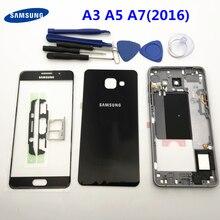 Fullที่อยู่อาศัยกรอบ + ปกหลัง + หน้าจอกระจกเลนส์สำหรับSamsung Galaxy A5 A510 A510F A3 a310F A7 A710F (2016)