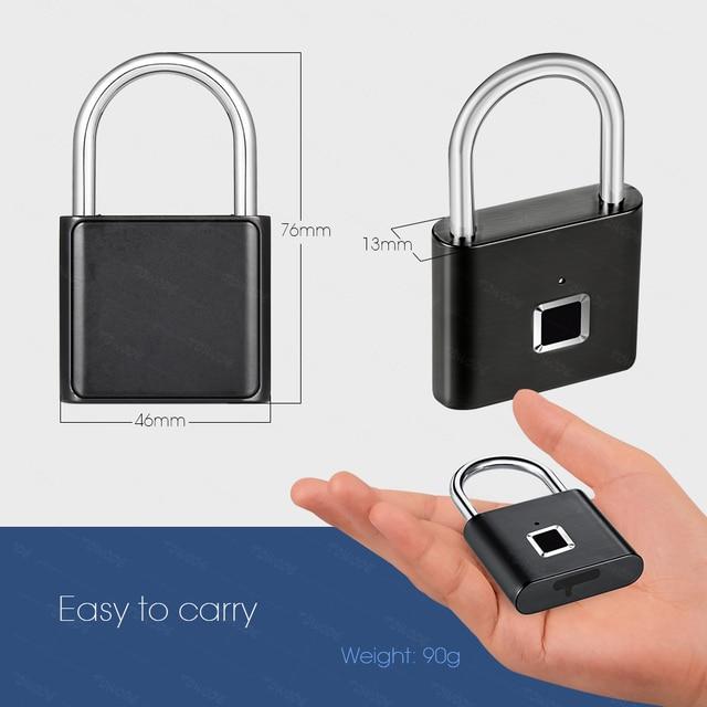 Towode Keyless USB Rechargeable Door Lock Fingerprint Smart Padlock Quick Unlock Zinc alloy Metal Self Developing Chip 3