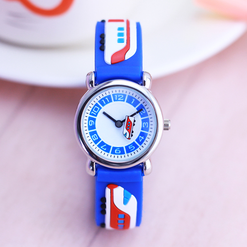 Boys Children Silicone Sports 3D Cartoon Motorcycle Train Quartz Watches Little Kids Students Personality Lovely Hands Watches