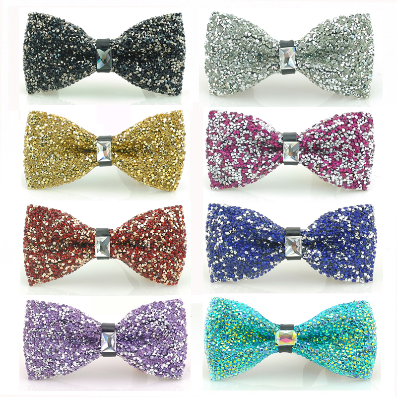 Luxurious Wedding Party Rinestone Bow Tie For Men-Pretied Crystal Bow Ties With Adjustable Length Huge Variety Colors Available