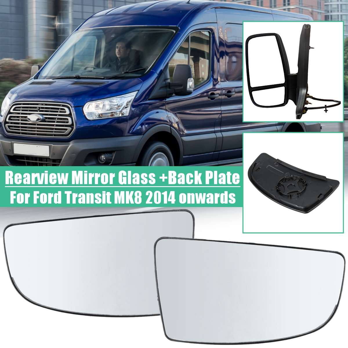 Front Left Right Rear view Mirror Lens Glass For Ford Transit MK8 2014 2015 2016 2017 2018 Right Hand Driver Car Accessories image