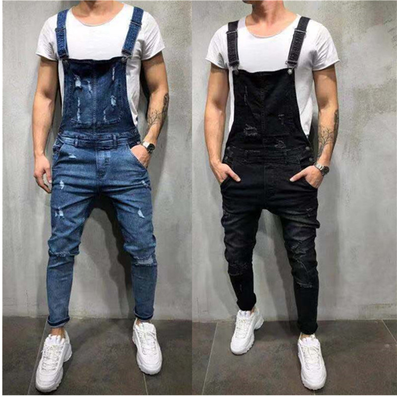 2019 Fashion Men's Ripped Jeans Jumpsuits Hi Street Distressed Denim Bib Overalls For Man Suspender Pants Size S-XXXL