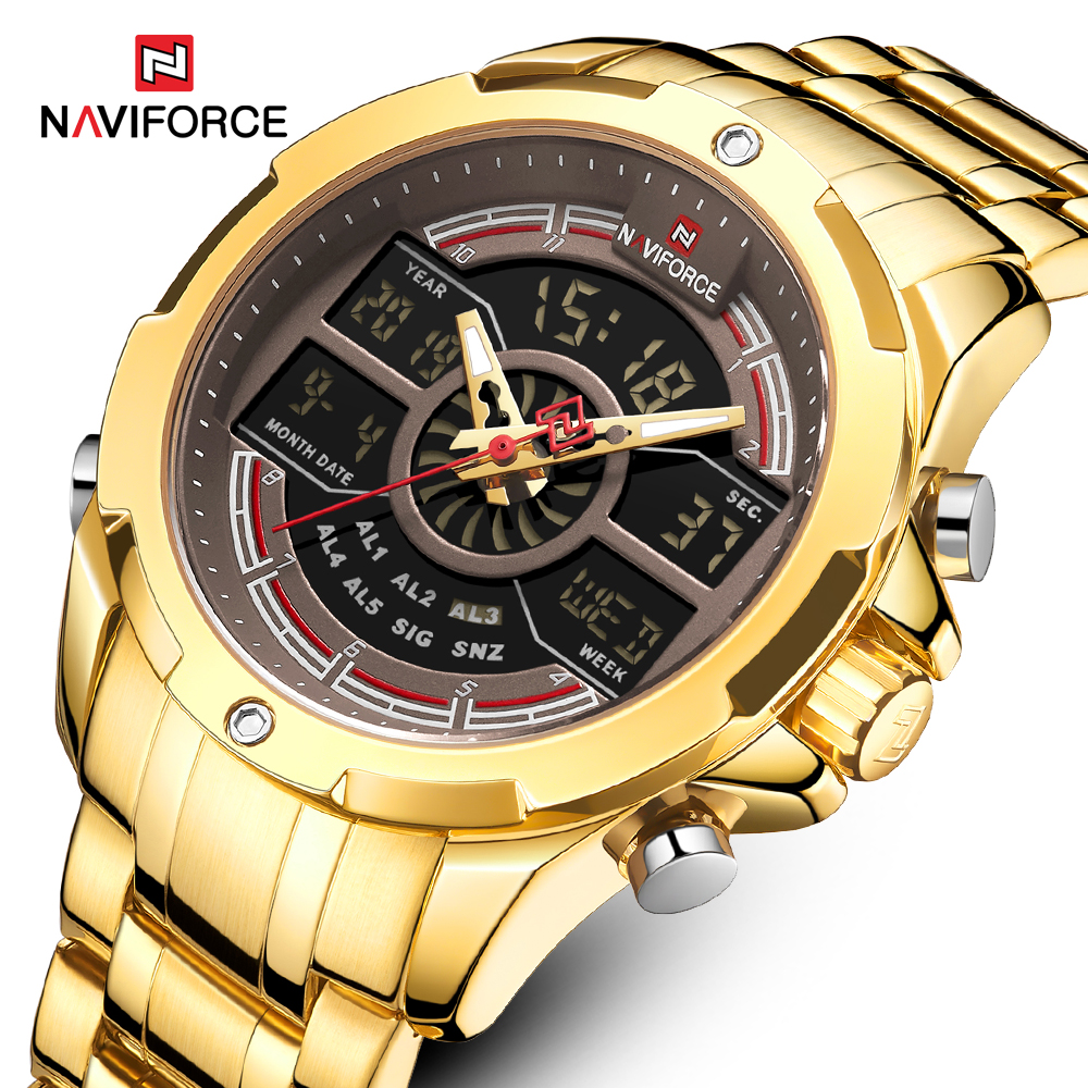 New NAVIFORCE Gold Men Watch Waterproof Sports Men's Quartz Wrist Watch Digital Male Top Brand Luxury Clock Relogio Masculino|Quartz Watches| - AliExpress