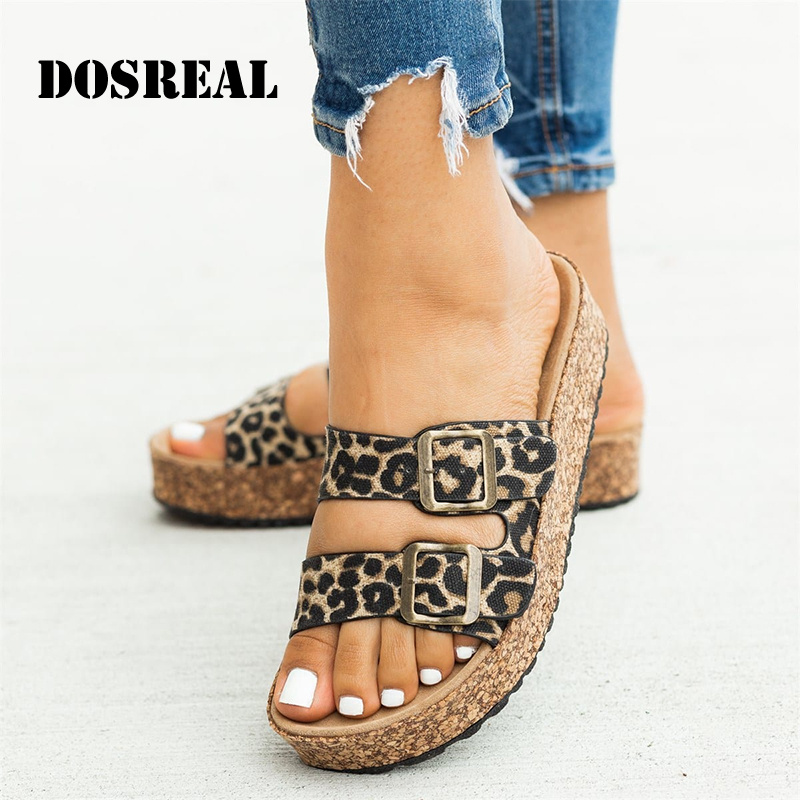 DOSREAL Summer Women Slippers Rome Retro Two Strap Casual Shoes Thick Bottom Open Toe Sandals Beach Slip On Slides Ladies Shoes