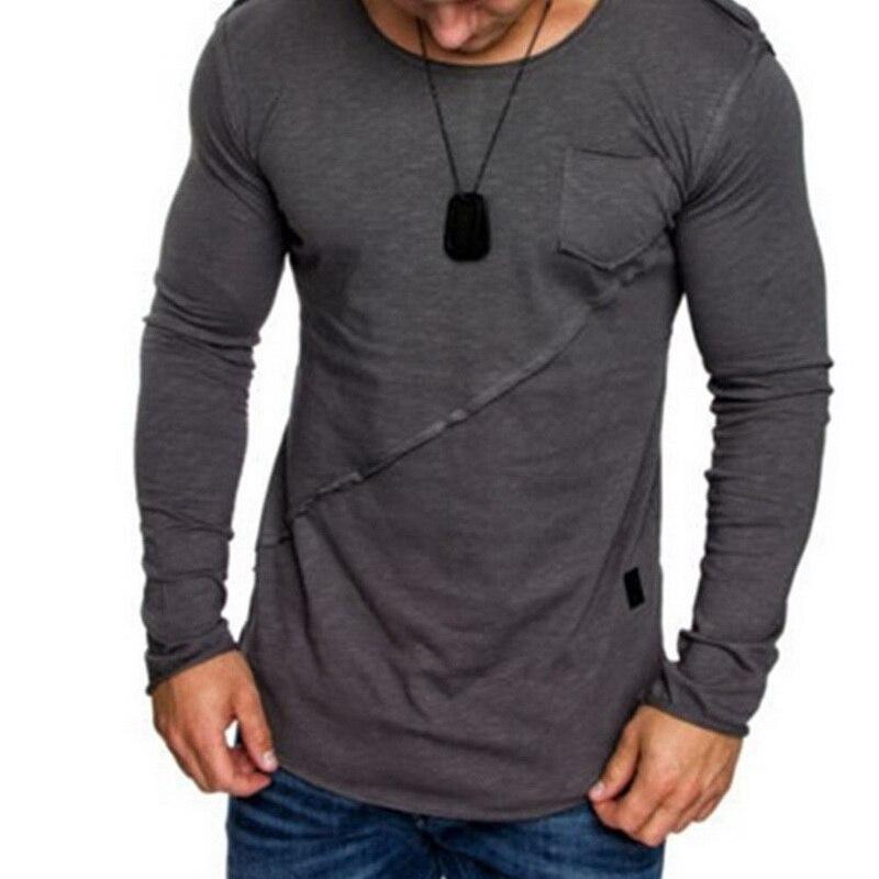 NIBESSER Новая Осенняя высокоэластичная Хлопковая мужская футболка с длинным рукавом и круглым вырезом, облегающая футболка, повседневные топ...