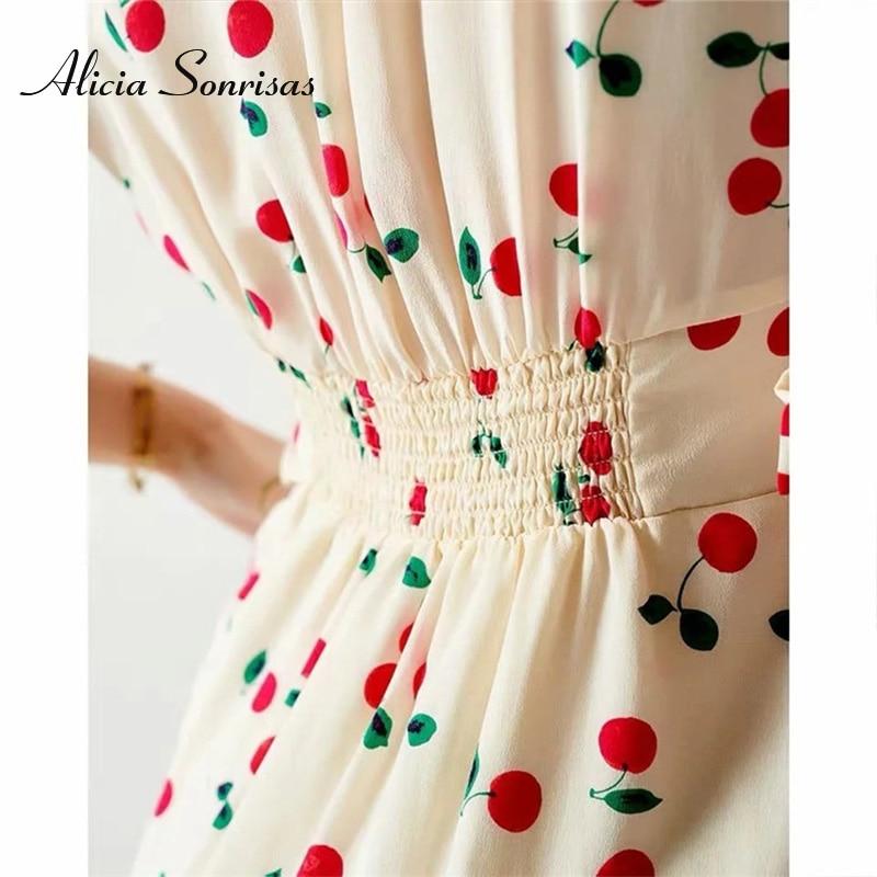 2020 Summer Women's Dress Cherry Printed V-neck Short Puff Sleeve Dress Slim Single Breasted Temperament Dresses Female