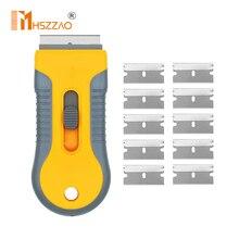 Segurança bloqueio lâmina de barbear raspador decalque raspador raspador plástico com 10 pçs lâminas de aço carbono para vidro adesivo remoção