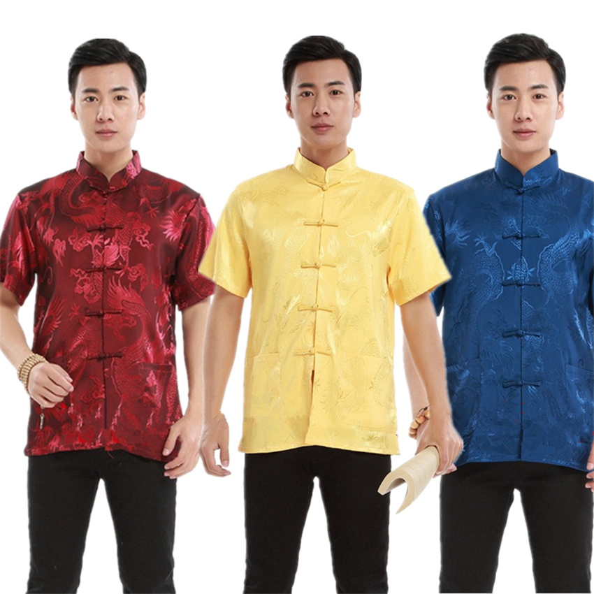 New Year Traditional Chinese Clothing For Men Tops Print Dragon Short Sleeve Satin Tang Suit China Fashion Style Adult Clothes