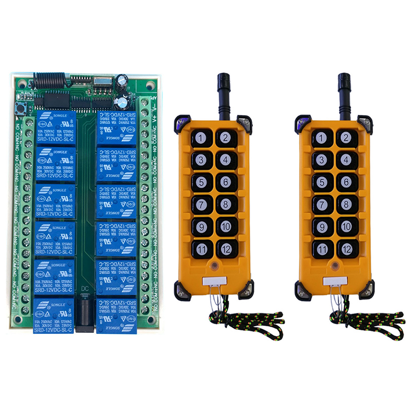 3000m DC 12V 24V 12CH 12 CH Radio Controller RF Wireless Remote Control Overhead travelling crane System Receiver+Transmitter