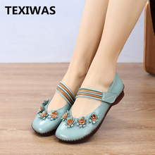 TEXIWAS Genuine Leather Women Flats Shoes 2020 Mary Janes Handmade Flower Shoes Soft Comfortable Loafer Women Driving Shoes