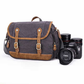 Water Resistant Vintage Camera Shoulder Bag Canvas Messenger Bag Canon Nikon DSLR Camera Bags To Travel Casual Satchel - DISCOUNT ITEM  42% OFF All Category