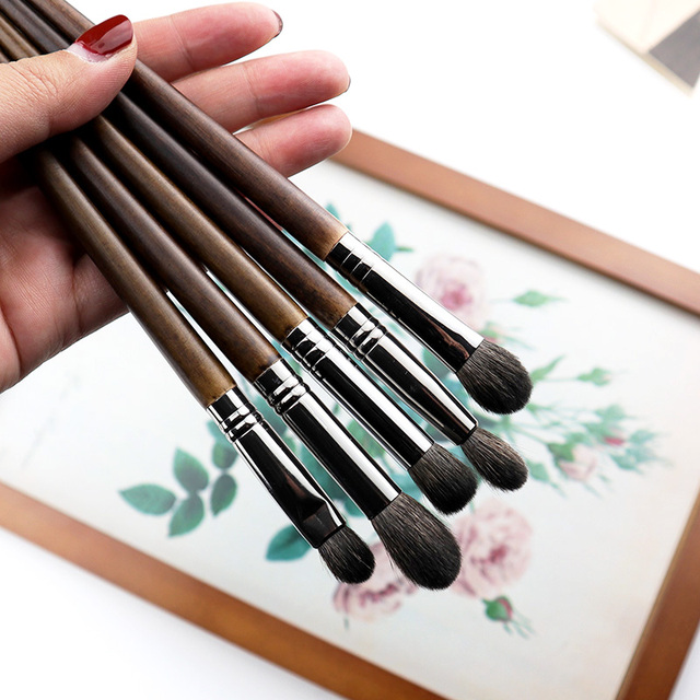 OVW Cosmetic 6 pcs Ultra Soft Goat Hair Makeup Eye Shadow Brush Set Tool trucchi pennelli Tapered Blender Diffuse Kit Cut Crease 3