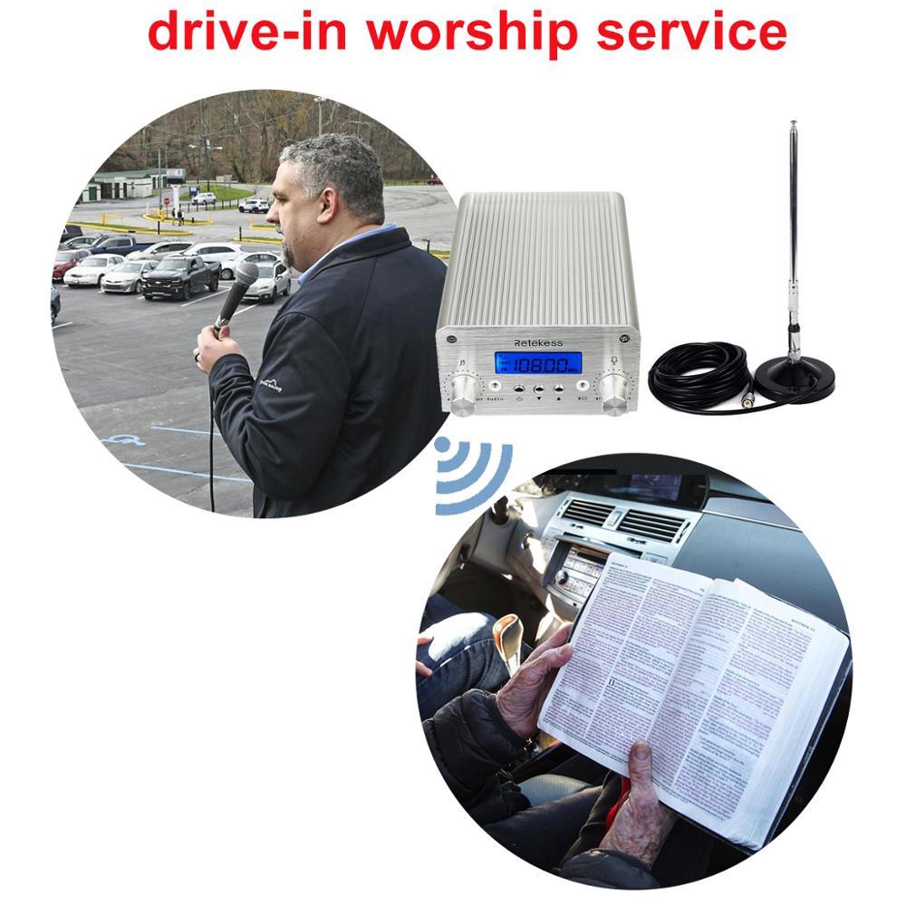 Image 2 - Retekess TR502 For Drive in Church 15W FM Transmitter Wireless Broadcast Stereo Station Long Range Transmitter Drive in CinemasRadio & TV Broadcast Equipments   -