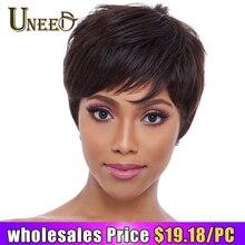 Uneed натуральные волнистые парики не Реми бразильские прямые человеческие волосы парик для женщин машинный не пахнет 6 дюймов, 1B, 63 г