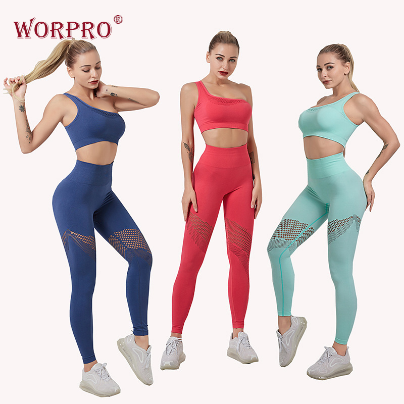gym leggings seamless yoga set fitness clothes women hollow out leggings padded one shoulder sports bra 2 piece gym set