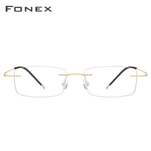 Image 2 - FONEX سبائك التيتانيوم بدون إطار نظارات الرجال مربع وصفة النظارات رجل فرملس قصر النظر إطارات النظارات البصرية 76127