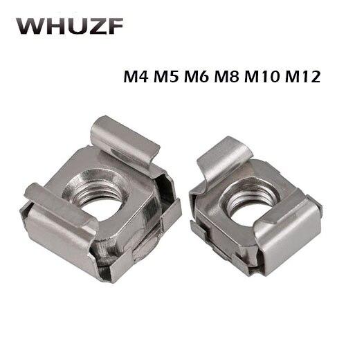 10 шт. M4 M5 M6 M8 M10 M12 304 нержавеющая сталь четверка плавающая гайка кассеты эластичный корпус Карточная клетка гайки