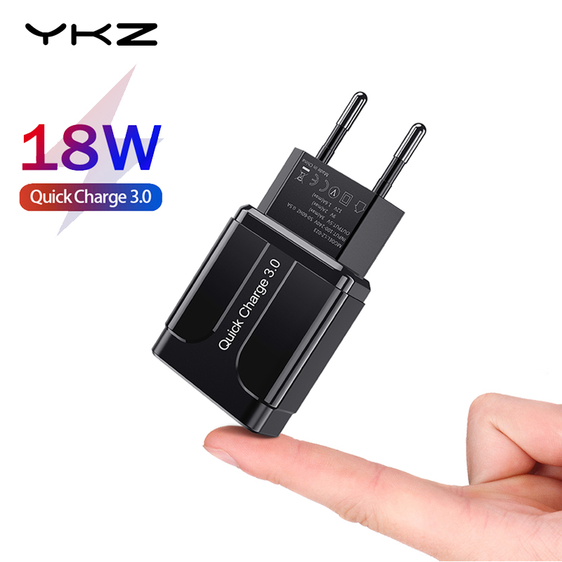 YKZ Quick Charge 3.0 18W QC 3.0 4.0 Fast charger USB portable Charging Mobile Phone Charger For iPhone Samsung Xiaomi Huawei