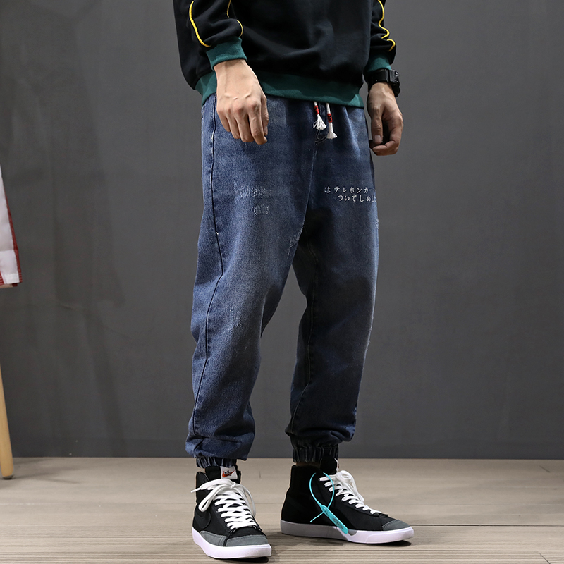 Japanese Style Fashion Men Jeans Blue Color Loose Fit Printed Designer Harem Jeans Men Elastic Waist Hip Hop Jogger Jeans Homme