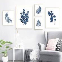 Украшение живопись чернильный синий растительный постер Акварельная