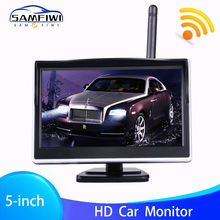 цена на 5 Inch TFT LCD HD Screen Wireless Car Monitor Parking Rear View Monitor Color Car Rear View Backup Camera with 2 Way Video Input
