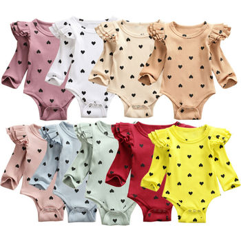Newborn Toddler Baby Boy Girls Cotton Knitted Long Sleeve Ruffles Ribbed Romper Jumpsuit Playsuit Baby Clothing Outfits 0-24M newborn baby girls princess romper toddler kids long sleeves jumpsuit clothes children cotton lace playsuit pink yellow clothing