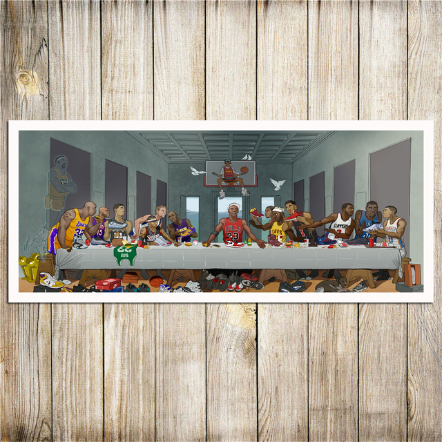 Basketball Players Last Supper HD Painting Printed on Canvas 2