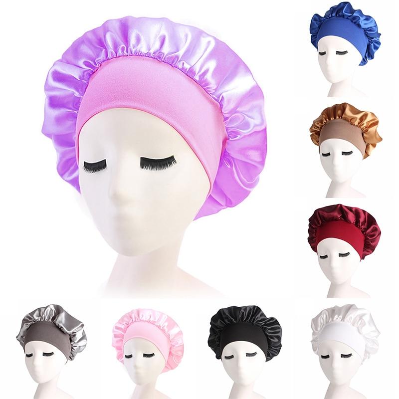 1pc Adjust Solid Satin Bonnet Hair Styling Cap Long Hair Care Women Night Sleep Hat Silk Head Wrap Shower Cap Hair Styling Tools