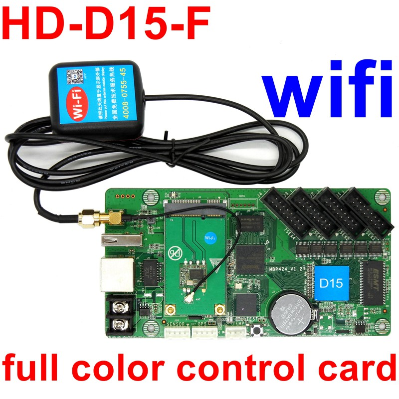 Contrôleur de HD-D15-F USB vidéo de carte de contrôle de LED polychrome asynchrone de wifi écran affichage LED 640*64 pixels 4 * ports hub75E