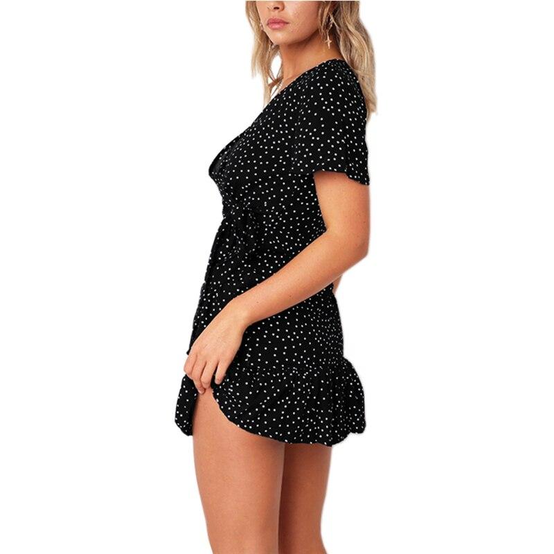 Summer Women Short Sleeve Print Dress V Neck Casual Short Dresses 6