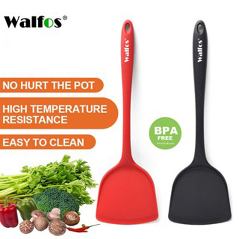 Walfos Non-Stick Silicone Shovel Heat-Resistant Handle Turner Kitchen Spatula Cooking Tool