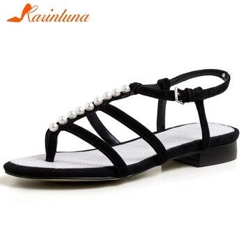 Karinluna Fashion 2020 Large Size 43 Kid Suede Summer Shoes Woman Sandals Buckle Strap String Bead Gladiator Sandals Women