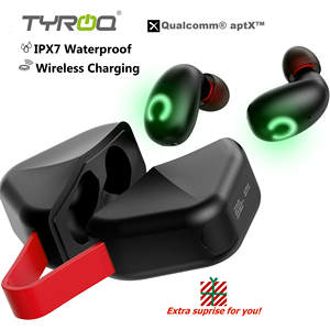 TyRoq B6 IPX7 Waterproof TWS earbuds Wireless earphones Bluetooth 5.0 Wireless charging Qualcomm aptX Full bass 45h Playing time