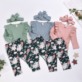 Newborn Infant Baby Girls Clothes Flower Pattern Long Sleeve Bodysuit+ Pants + Headband Toddler 3Pcs Outfits Clothing Set chivry 4pcs cute infant baby girls boys unicorn clothing long sleeve bodysuit top pants headband hat girl outfits clothes set