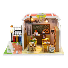 DIY Dollhouse Model Classroom Miniature Doll House Furnitures Assemble Kits Wooden House Toys for Children Birthday Gift(China)