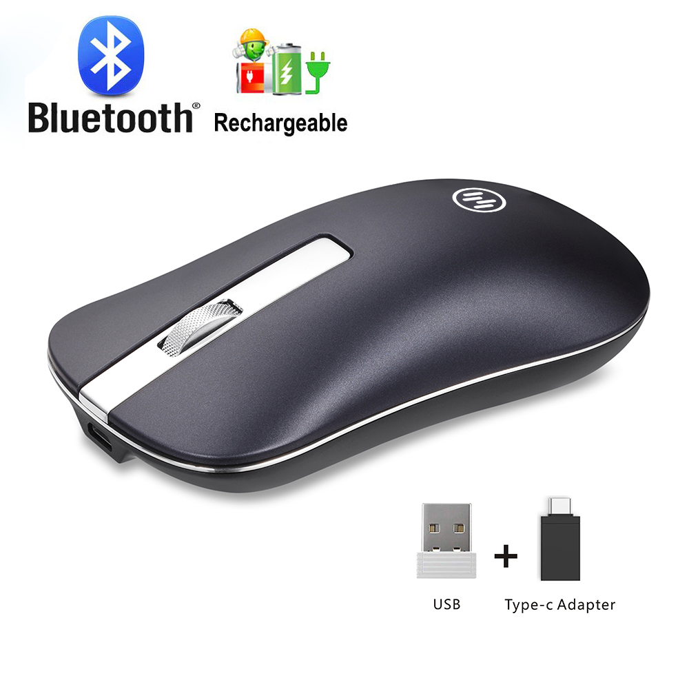 Rechargeable Wireless Mouse Computer Bluetooth Mouse Silent For PC Laptop 2.4Ghz Mini USB Ergonomic Type C Mause Noiseless Mice