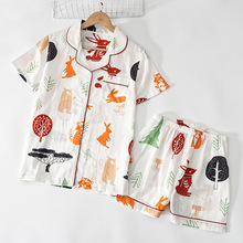Summer 2020 new cotton double gauze pajamas for women comfortable ladies casual