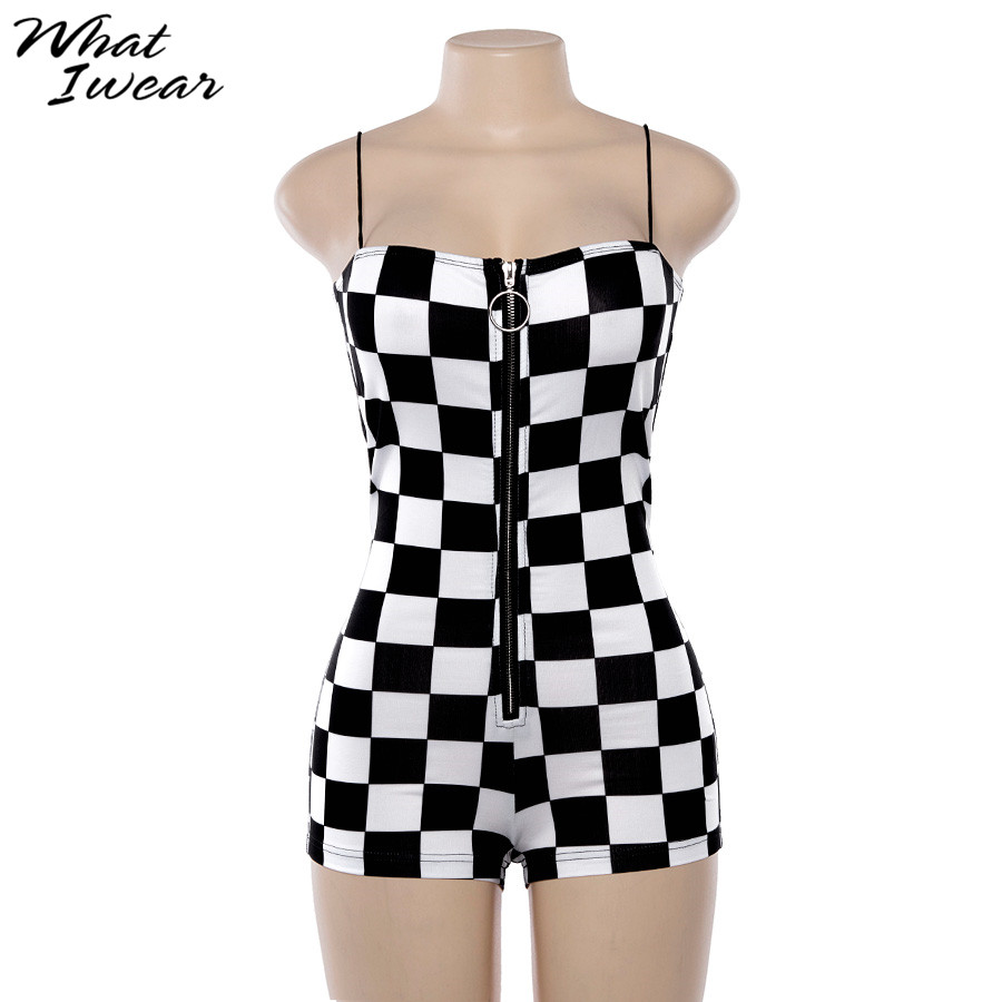 Women New Plaid Playsuits Sexy Backless Strapless Zipper Fly Short Bodysuits Female Workout Street Plaid Playsuits
