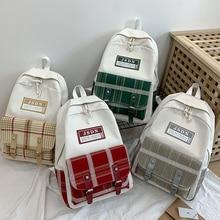 Harajuku Women Canvas Backpacks Fashion Patchwork Schoolbag for Teenage Girl Simple Plaid Women Backpack Casual Female Backpack