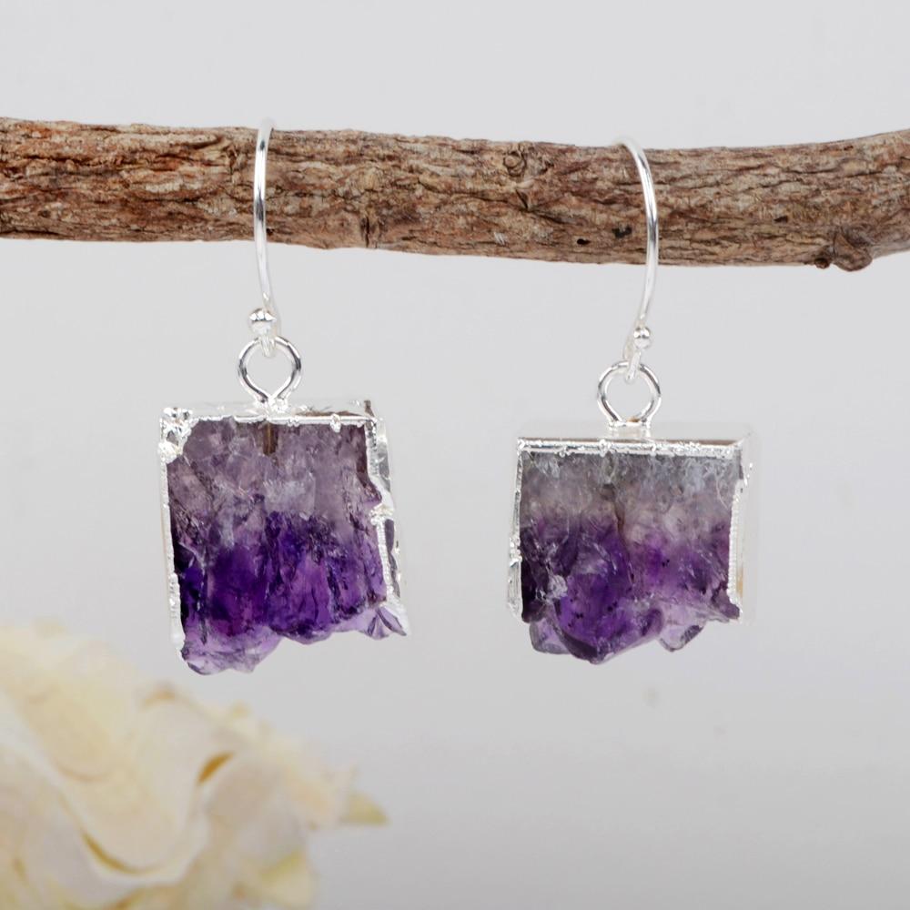 Druse Ear Stud Natural Crystal Quartz  Irregular Stone Raw Amethyst Earrings
