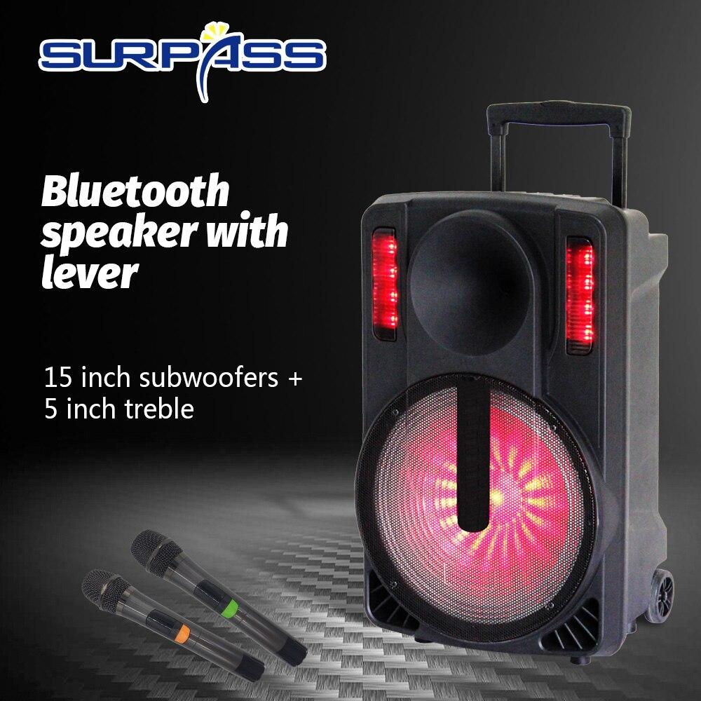 Портативный караоке Bluetooth сабвуфер динамик 15 дюймов аккумуляторная батарея с красочным Светодиодный светильник аудио усилитель звука
