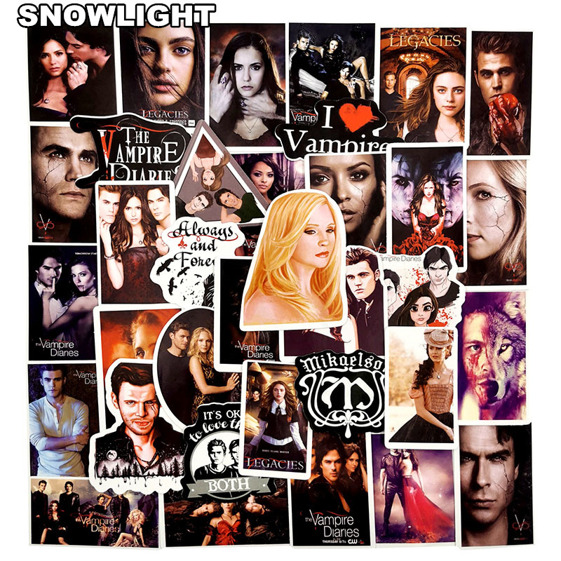 50Pcs/pack American Fantasy TV Series The Vampire Diaries Stickers For DIY Toy Luggage Laptop Skateboard Scrapbook Mobile Phone