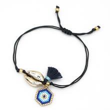 Go2boho Shell Bracelets Delica MIYUKI Evil Eye Bracelet Charm Pulseira Mujer 2019 Summer Jewelry Women Friendship Gift