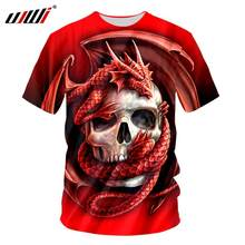 UJWI 3D Brand Pterosaur Red Dragon Print Summer T-Shirts Skull Pattern Homme Fashion T Shirt Men Tops Tee Short Sleeved Clothes(China)