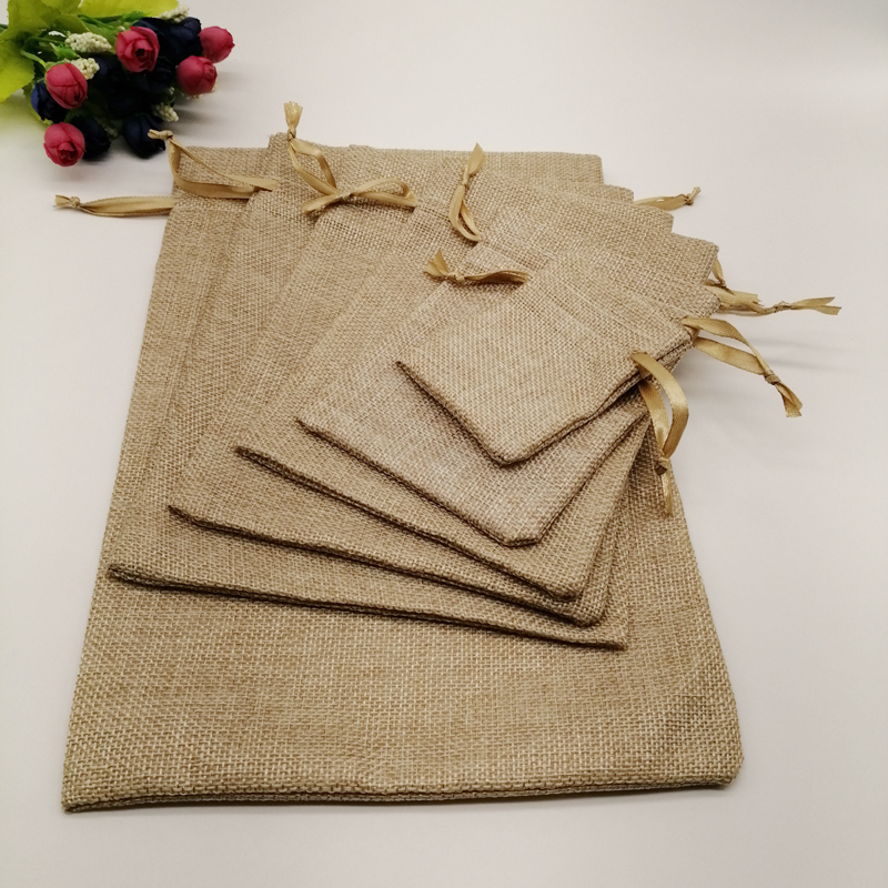 50pcs Silk Ribbon Jute Bag Sack Drawstring Bag Small Jewelry Bags Pouch For Jewelry Packaging Display Wedding Christmas Gift Bag